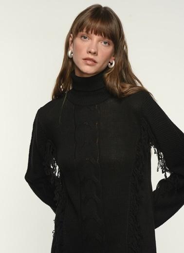 NGSTYLE Ngkaw21Kz0021 Kendinden Desenli Triko Elbise Siyah